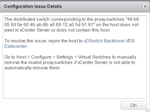 the proxy switches on the host does not exist in vCenter Archives